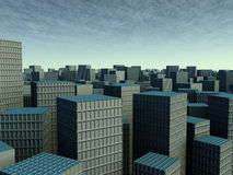 Smog City. Symbolic render of an generic, polluted large City Stock Images