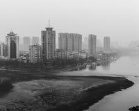 Smog City Black and Whitr. Chengdu City in black and white ad the smog worsens Royalty Free Stock Photo
