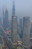 Smog in city center of Shanghai Stock Photography
