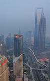 Smog in city center of Shanghai Stock Photo