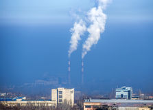 Smog at the city. Urban landscape of Almaty, Kazakhstan. Smog at the city Stock Images