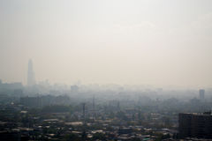Smog in the city. View of Santiago city in Chile with smog Royalty Free Stock Image