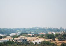 Smog cover the city. Smog cover the Portimao city in Portugal Stock Images