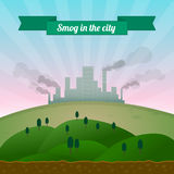 Smog in de stad Stock Afbeelding