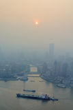 Smog Huangpu river in Shanghai Royalty Free Stock Image