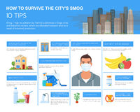 Smog infographic vector illustration. How to survive in polluted city. Design elements, icons flat style. Pollutions and. Smog infographic vector illustration Stock Photo