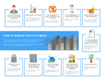 Smog infographic vector illustration. How to survive in polluted city. Design elements, icons flat style. Pollutions and Stock Photography