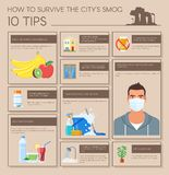Smog infographic vector illustration. How to survive in polluted city. Design elements, icons flat style. Pollutions and Royalty Free Stock Image