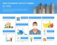 Smog infographic vectorillustratie Hoe te in verontreinigde stad te overleven Ontwerpelementen, pictogrammen vlakke stijl Verontr Stock Foto