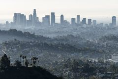 Smog in Los Angeles. Fog and smog soaked skyline in downtown Los Angeles Stock Images