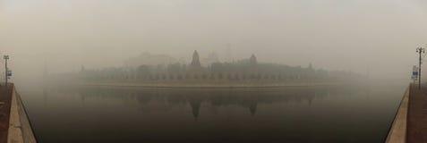 Smog a Mosca, Russia. Kremlin. Immagini Stock Libere da Diritti