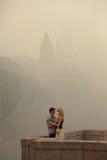 Smog a Mosca, Russia. Kremlin. Immagini Stock