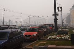 Smog in Moscow. Forest fires smog in the Center of Moscow, Russia Royalty Free Stock Photography