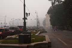 Smog in Moscow. Forest fires smog in the Center of Moscow, Russia Stock Images