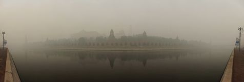Smog in Moscow, Russia. Kremlin. Royalty Free Stock Images