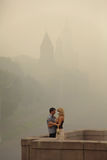Smog in Moscow, Russia. Kremlin. Stock Images