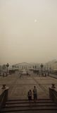 Smog in Moscow, Russia. Manege Square. Stock Photo
