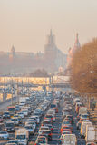 Smog in Moscow, Russia. Thursday, Nov. 20, 2014. Weather: Sun, s Stock Photo