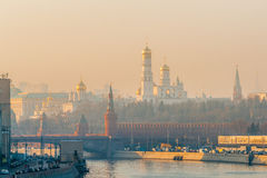Smog in Moscow, Russia. Thursday, Nov. 20, 2014. Weather: Sun, s Royalty Free Stock Photos