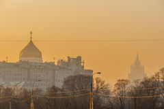 Smog in Moscow, Russia. Thursday, Nov. 20, 2014. Weather: Sun, s Royalty Free Stock Image