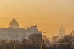 Smog in Moskau, Russland Donnerstag, Nov. 20, 2014 Wetter: Sun, s lizenzfreies stockbild
