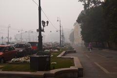 Smog in Moskou stock afbeeldingen