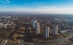 Smog over big city. Residential area in Katowice, Silesia, Poland Royalty Free Stock Images