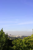 Smog over the city. Environmentally threatened day, emissions from the metallurgic plant Royalty Free Stock Photos