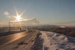 Smog over the city. Windless frosty winter day Stock Images
