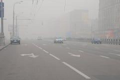 Smog over Moscow Street Stock Photo