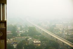 Smog over noida delhi gurgaon in the morning Stock Photo