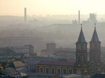 Smog over Ostrava. Air pollution in Ostrava. Photo taken during November sunny day from city hall tower. Mist related to high amount of pm10 and pm2,5 particular Royalty Free Stock Photo