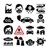 Smog, pollution icons set - ecology, environment concept Stock Photo