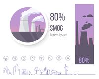 80 Smog Polution Poster with Factory Illustration. 80 smog air pollution warning poster with factory pipes that spread emissions and small ecology themed icons Stock Photo