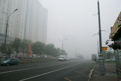 Smog on the road in Russia Stock Image