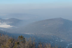 Smog settled over Budapest, Hungary on 21th January2017 Royalty Free Stock Photo