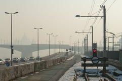 Smog settled over Budapest, Hungary on 21th January2017 Royalty Free Stock Image