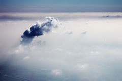 Smog in sky. Industrial smog in sky, view from airplane Royalty Free Stock Photo
