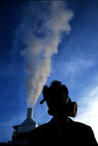 Smog on the sky. With antigas mask Royalty Free Stock Image