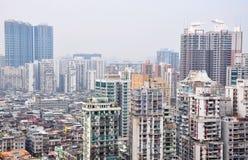 Smog sotto la città cinese Fotografia Stock