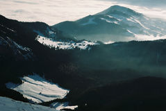 Smog Valley. Rucar Bran valley betwen Piatra Craiului & Bucegi Mountains Royalty Free Stock Images