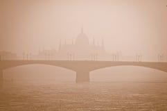 Smog vereinbart über Budapest, Ungarn am 21. Januar 2017 stockfotos