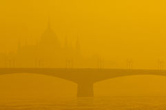 Smog vereinbart über Budapest, Ungarn am 21. Januar 2017 lizenzfreies stockbild
