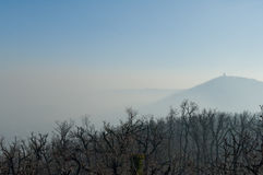 Smog vereinbarte über Budapest, Ungarn auf 21. January2017 stockbild