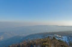 Smog vereinbarte über Budapest, Ungarn auf 21. January2017 stockfoto