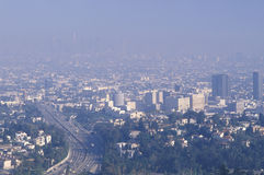 Smog zaciemnia Los Angeles linię horyzontu obrazy royalty free
