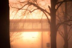 Smogläge i staden dimma Fotografering för Bildbyråer