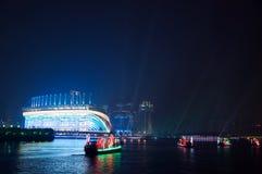 Smok łódź w Guangzhou kantonie Chiny zdjęcie royalty free