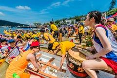 Smok łodzi festiwalu rasy Stanley plaża Hong Kong Obraz Stock
