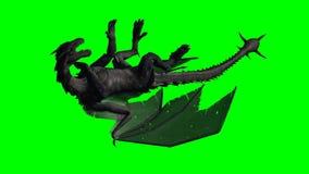 Smok atakujący w locie - greenscreen Zdjęcia Royalty Free